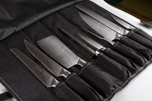 Professional Japanese 9 Piece Chefs Knife Set in Canvas Holder ( Kitchen Knives )