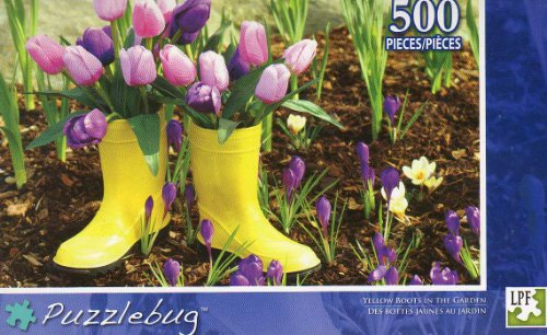 Yellow Boots in the Garden - Puzzlebug -500 Pc Jigsaw Puzzle - NEW