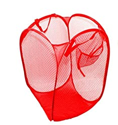 AndAlso Two RED BIG Nylon Mesh Foldable Laundry Washing Clothes Basket Bag