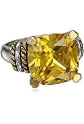 Goldtone finish and Silvertone Square Yellow Cubic-Zirconia Ring