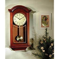 River City Clocks Chiming Regulator Wall Clock with Swinging Pendulum and Cherry Finish - 24 Inches Tall - Model # 6023C River City Clocks