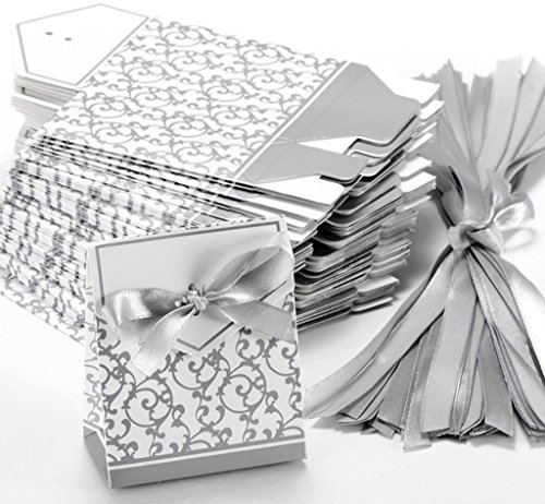 Classy Looking 50pcs Favor Candy Boxes Gift Boxes with Ribbons (Silver)