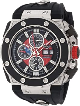 GV2 by Gevril Men's 8800 Corsaro Round Automatic-Chronograph Day-Date Sapphire Crystal Red Dial Rubber Water-Resistant Watch from GV2 by Gevril