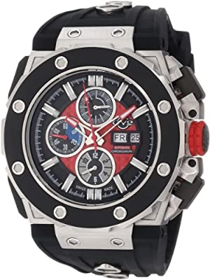 Gv2 By Gevril Mens 8800 Corsaro Round Automatic-chronograph Day-date Sapphire Crystal Red Dial Rubber Water-resistant Watch by GV2 by Gevril