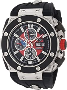 Gv2 Corsaro Men's Automatic Watch with Red Dial Analogue Display and Black Rubber Strap 8800