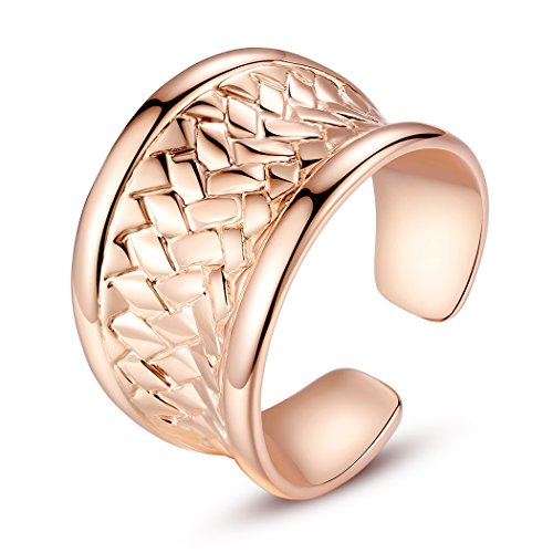 Bamoer Fashion Promise Solid 18K Rose Gold Plated Alloy Promise Engagement Ring For Women Girls