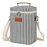 Kato Insulated Wine Carrier Bag - 4 Bottle Travel Padded Wine Carrying Cooler Tote with Handle and Shoulder Strap, Great Wine Lover Gift, Stripe