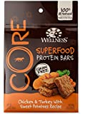 Wellness CORE Natural Grain Free Protein Bars Dog Treats Made in USA Only, Chicken & Turkey with Sweet Potato, 5.5-Ounce