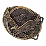 Buckle Rage Men's Flying Soaring Eagle Over Mountains Country Oval Belt Buckle