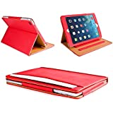 MOFRED® Red & Tan Apple iPad Air (Launched 2013) Leather Case-MOFRED®- Executive Multi Function Leather Standby Case for Apple iPad Air with Built-in magnet for Sleep & Awake Feature