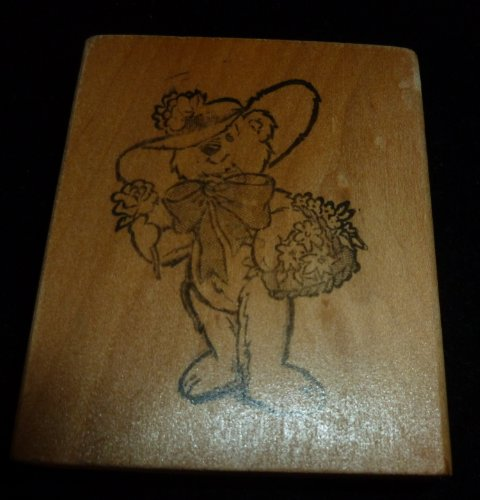 Lady Teddy Bear With Flower Basket Rubber Stamp - 1