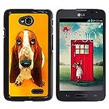 Slim Design Hard PCAluminum Shell Case Cover for LG Optimus L70 LS620 D325 MS323 Basset Hound  Pendant Ear Dog JUSTGO PHONE PROTECTOR