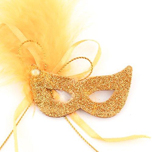 Mini Masquerade Masks - Pack of 12 Mini Mardi Gras Masks (Gold) (Gold Mardi Gras Mask)