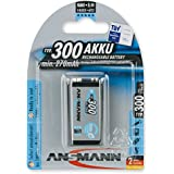 ANSMANN Rechargeable 9V Battery 300mAh pre-charged Low Self Discharge 9Volt NiMH Rechargeable Battery (1-Pack)