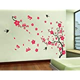 Oren Empower Pink Artistic Tree PVC Vinyl Large Wall Sticker (Finished Size On Wall - 140(w) X 90(h) Cm)