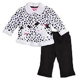 Young Hearts Newborn Baby Girls 2 Piece Animal Print Polar Fleece Pants Set