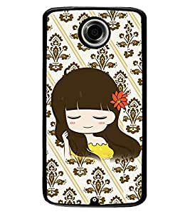 Fuson Premium Smiling Girl Metal Printed with Hard Plastic Back Case Cover for Motorola Google Nexus 6
