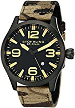 Stuhrling Original Men's 141C.02 Aviator Analog Display Swiss Quartz Brown Watch