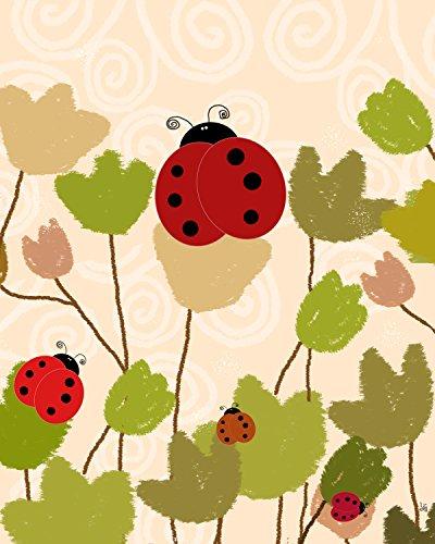 Green Leaf Art Ladybugs Canvas Art