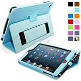 Snugg Apple iPad Mini & iPad Mini 2 Retina Leather Case in Baby Blue - Flip Stand Cover with Elastic Hand Strap, Stylus Loop and Premium Nubuck Fibre Interior - With Automatic Sleep & Wake
