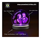 Personalized wedding anniversary gifts photo Engraved Crystal with Multicolor LED Light Base by Fusion Crystals