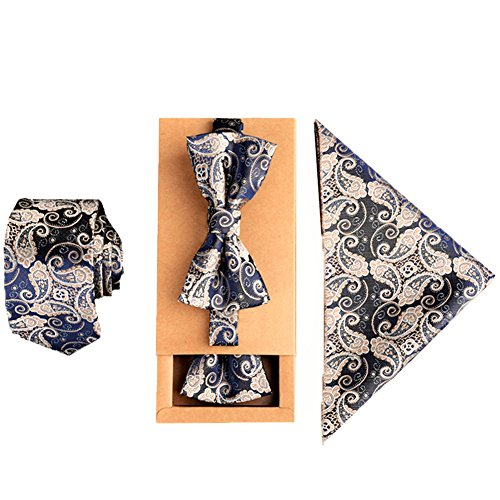 Mens Fashion Polyster Skinny Necktie and Bowtie Pocket Square 3pcs Set Valentine's Day Gifts 2