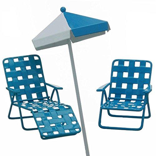 Fiddlehead Fairy Garden Beach Set. Inlcudes Mini Beach Umbrella, Blue Lawn Chair, and Lounge Chair.
