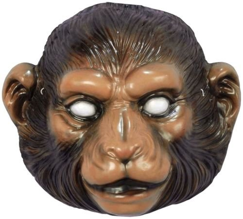 [Brown Monkey PVC Face Mask Halloween Ape Chimp Zoo Costume Accessory Plastic] (Chimp Hands Costume)