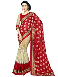 Kuvarba Fashion Red Georgette Saree with Blouse Piece