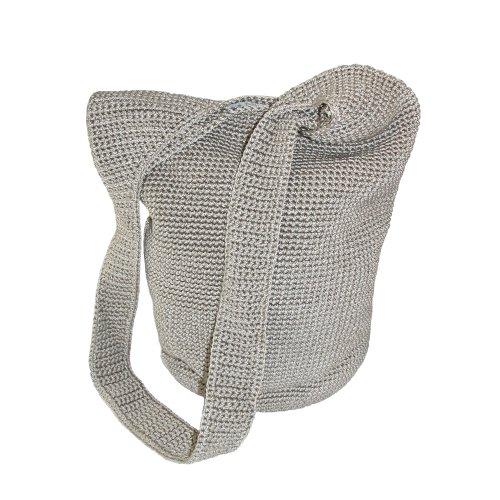 CTM® Womens Crocheted Sling Shoulder Handbag, Grey