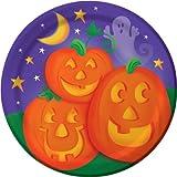 Creative Converting Halloween Pumpkin Cheer Value Pack Round Dinner Plates, 50-Count