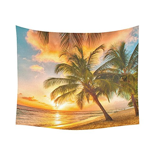 Interestprint-Coconut-Palm-Tree-Ocean-Sea-Paradise-Hawaii-Beach-Sunset-Scenic-Tapestry-Wall-Hanging-Wall-Decor-Art-for-Living-Room-Bedroom-Dorm-Cotton-Linen-Decoration-51-X-60-Inches
