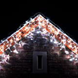 300 LED White Icicle Lights Conenctable for Outdoor Use by Lights4fun