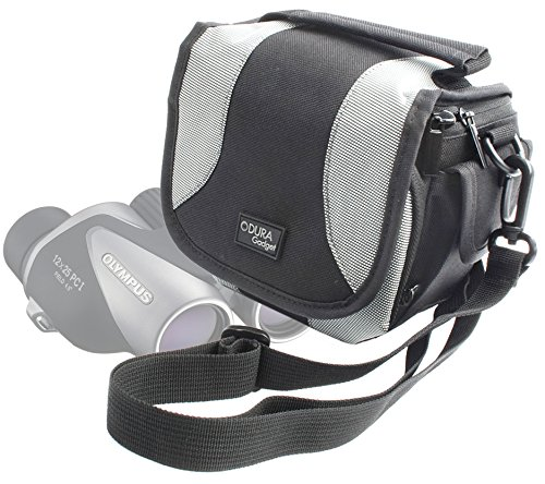 Duragadget Portable Carry Case With Padded Interior, Pockets And Shoulder Strap For Olympus 10X21 Dpc I Silver Binocular, Olympus 8X21 Dpc I-Series Binoculars & Olympus 12X25 Pc I / 10X25 Pc I / 8X25 Pc I