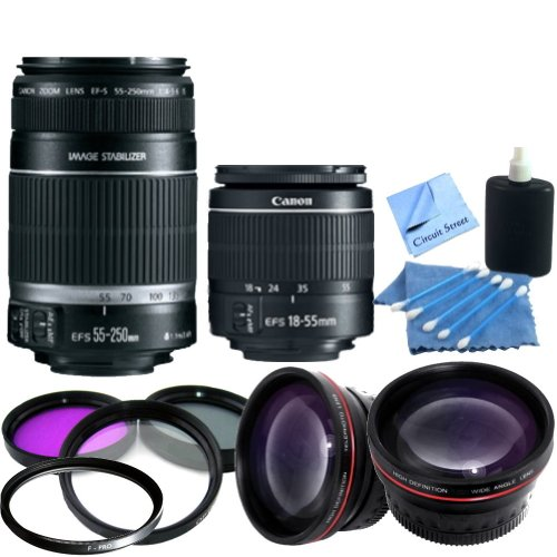 Dual Lens Kit: Canon EF-S 55-250mm f/4-5.6 IS II Lens & Canon EF-S 18-55mm f/3.5-5.6 IS II Autofocus Lens: Also Includes 2 UV Filters, Rotating Circular Polorizing Filter, FLD Filter, 0.45x Wide Angle Lens, 2x Telephoto Lens, Cleaning Kit & CS Microfiber Cleaning Cloth.
