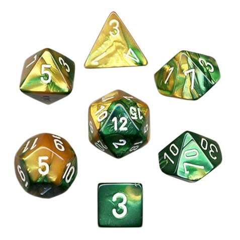 Polyhedral 7-Die Gemini Dice Set - Gold-Green with White