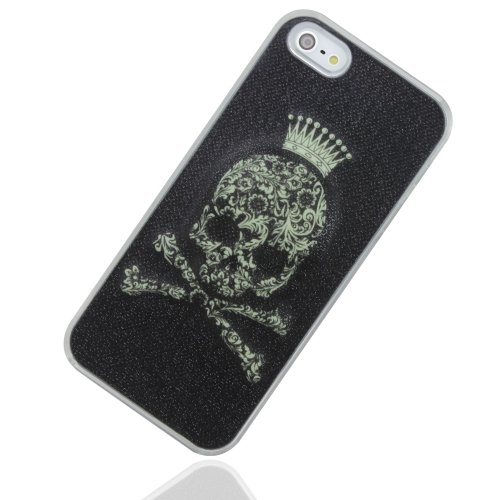 Skull & Crown Led Color Changing Sense Flash Light Up Case Cover For Iphone 5 5G 5Th With Free Gifts