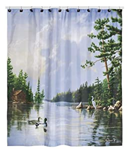 Hautman brothers lakeside nature inspired for Nature inspired shower curtains