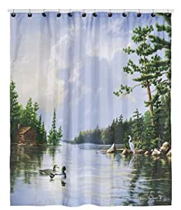 Hautman Brothers Lakeside Nature Inspired Fabric Shower Curtain 72 X 72 Home