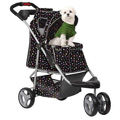 PETZIP Monogram Pet Stroller - Black