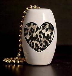 Leopard Skin Heart Porcelain Fan / Light Pull