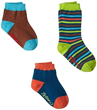Zutano Baby-Boys Infant Three Pack Crew And Anklet, Multi, 12-24 Months