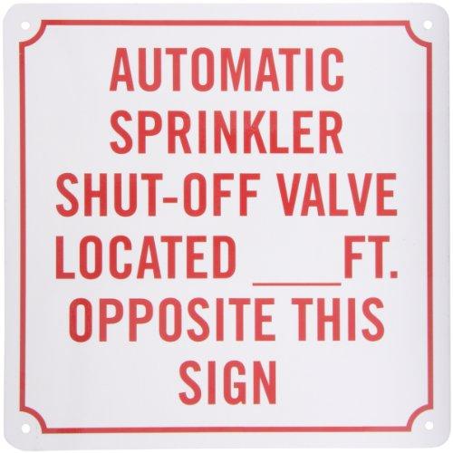 Smartsign Aluminum Sign Legend Automatic Sprinkler Shut Off Valve 10 Square Red On White