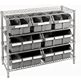 Seville Classics 4-Shelf with 7 Bin Rack, Silver/Grey