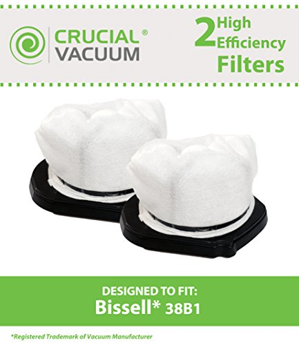 2 Bissell Hepa Style 38B1 Vacuum Filters Fit 3 In 1 Lightweight Stick Vacuum, Compare To Part # 203-7423, Designed & Engineered By Crucial Vacuum