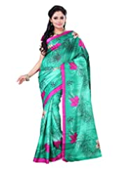 Surat Tex Green & Pink Crepe Daily Wear Beautiful Sarees With Blouse Piece
