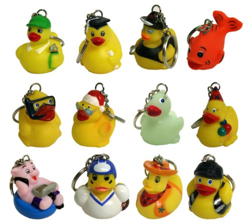 Waddlers Themed 12 Different Mini Rubber Ducky And Friend Keychain Gift Pack