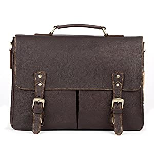 Kattee Vintage Leather Briefcase 14 Inch Laptop Messenger Bag Tote from Kattee