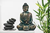 "biorhythm ""Air Light"" Jade and Gold Meditating Buddha Statue"