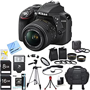 Nikon D3300 Black 24.2MP DSLR Camera AF-S NIKKOR 18-55mm Lens Ultimate Bundle Includes Wide Angle & 2x Telephoto Lenses, Filter Kit, Flash, 16GB/8GB Memory Cards, Camera Bag, 57